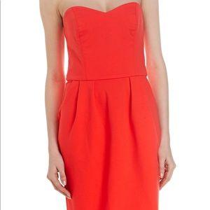 Amanda Uprichard Strapless Ponte Dress-Neon Orange